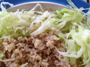 Water sautéed green head cabbage with brown rice