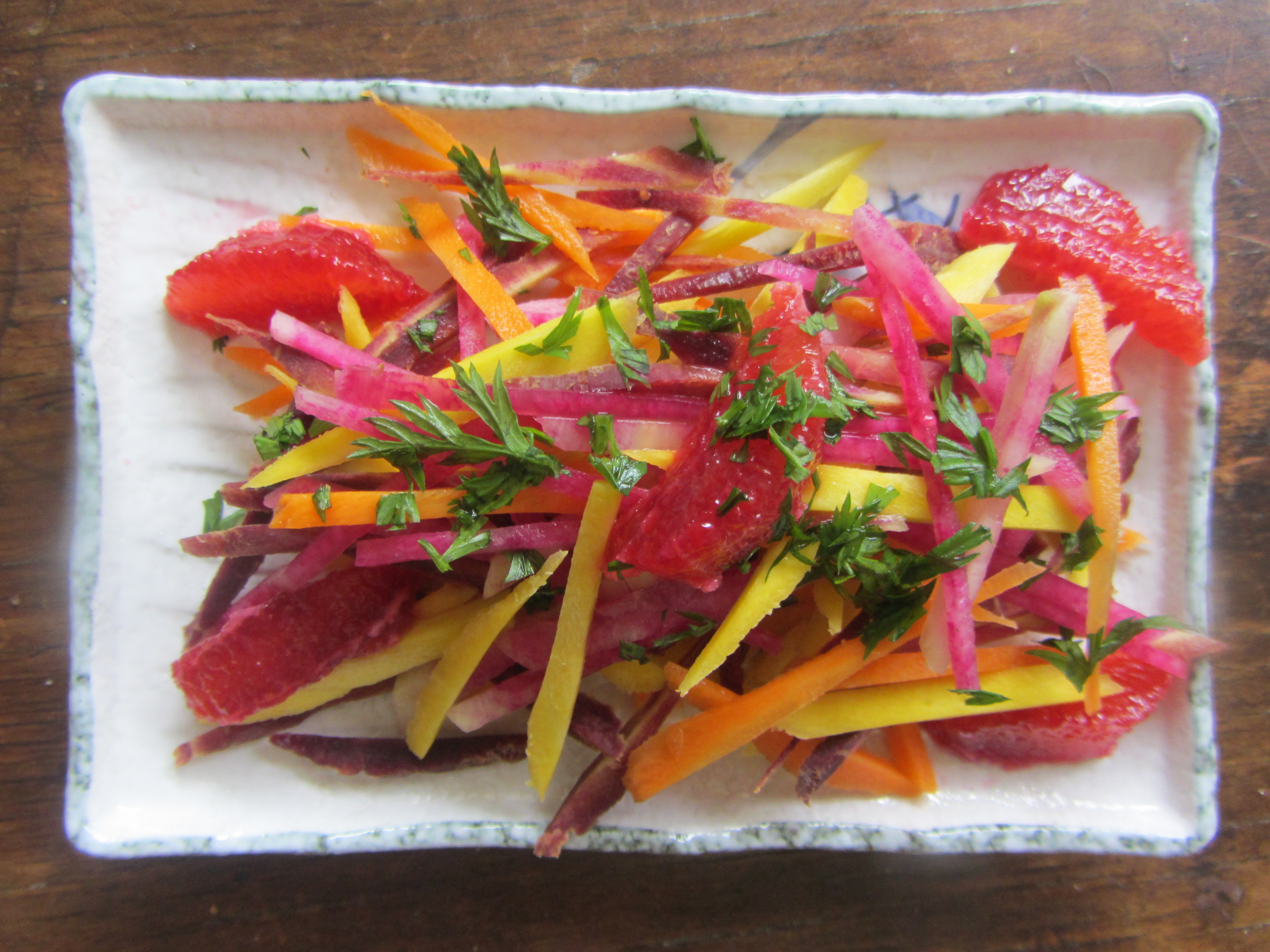 rainbow carrots, water- melon radish and blood orange saladvfb