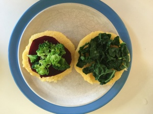 arepas with beet, broccoli and kale